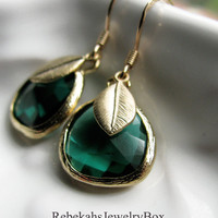 Peacock Green Crystal Earrings with Brushed Gold Feather Charms 14K