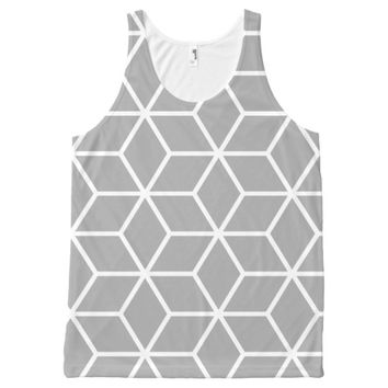 Grey Geometric Pattern All-Over-Print Tank Top