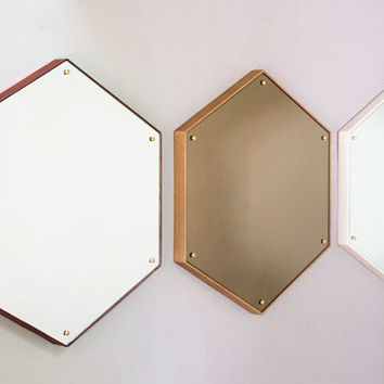 Hex Mirror - Waxed Oak