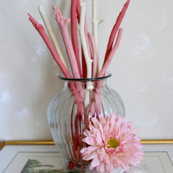 Coral , Pink & Cream Painted Driftwood Branches , Coastal Chic Home Decor and Vase Filler