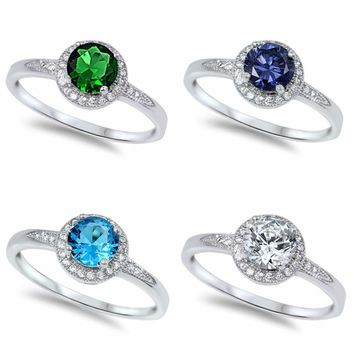 Sterling Silver 925 PRETTY ROUND CZ DESIGN ENGAGEMENT RINGS 8MM SIZES 4-10