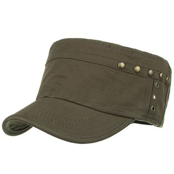 Unique Rivets Pattern Embellished Military Hat