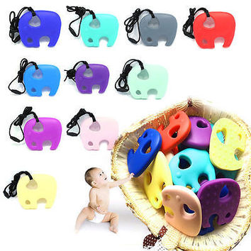 1pc Baby Elephant Pacifier Teething Toy Chewable Pendant Soother Teether With String Non-Toxic Random Color Delievery 80*68mm