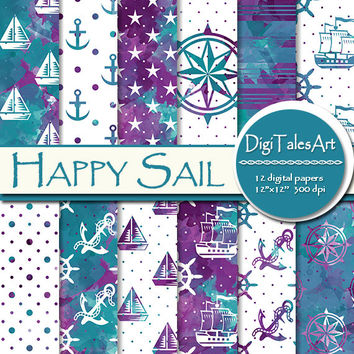 "Maritime watercolor digital paper ""Happy Sail"" clipart papers in blue purple, scrapbook sea life patterns nautical background boat anchor"