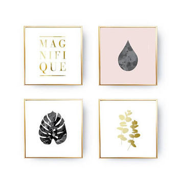 SET of 4 Prints, Leaves Print, Eucalyptus Poster, Home Decor, Gold Foil Print, Nordic Design, Magnifique Leaves Set, Minimal Art, Plant Art