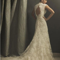 Vintage Ivory Lace Bridal Wedding Dress with Keyhole Back Custom Size 2 4 6 8 10