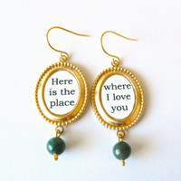 Hunger Games earrings. Literary quote jewelry. Birthday, friendship gift. Gold brass and green Indian agate. Clip on available.