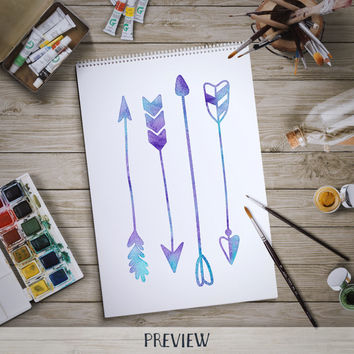 Hand Drawn Watercolor Arrow Clip Art Set 1 Handdrawn tribal arrows for logo and other graphic design, scrapbooking, invitations card making
