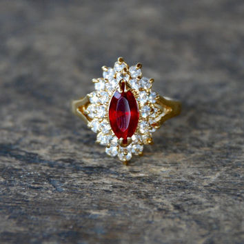 Vintage PARK LANE Ruby Rhinestone Ring Statement Cocktail Gold Tone Mid Century 1960's Size 4 3/4 // Vintage Designer Costume Jewelry