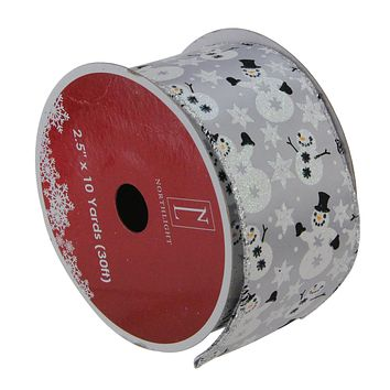 """Pack of 12 Shiny Silver Snowmen and Snowflakes Wired Christmas Craft Ribbon Spools - 2.5"""" x 120 Yards Total"""