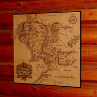 Lord of the Rings Middle Earth map woodburned home decor