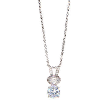 Dear Deer White Gold Plated Rabbit Cubic Zirconia Pendant Necklace