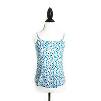 90's Blue and White Daisy Print Crop Top Tank