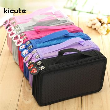 2 Layer 36 Holes Art Pen Pencil Case Box Students Stationary Zipper Storage Comestic Make up Brush Organizer Bag School Supplies