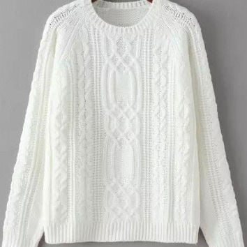 White Jacquard Crochet Sweater