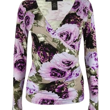 INC International Concepts Women's Floral Faux Wrap Top