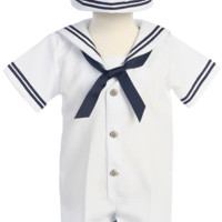 Boys White & Navy Nautical Romper w. Sailor Hat 3-24m