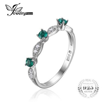 JewelryPalace 3 stones Round Created Emerald Engagement Wedding Rings For Women Genuine 925 Sterling Silver Fashion Fine Jewelry