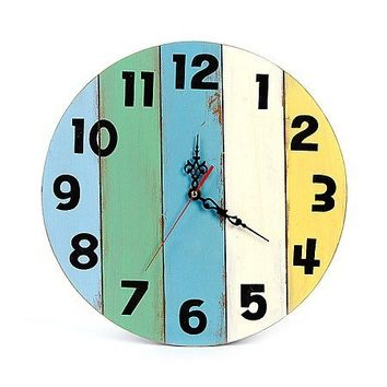 Creative Original Round Wood Navy Style Wall Clock for Bedroom
