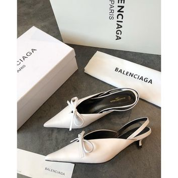 Balenciaga Knife Mules White Pointed Toe Satin Mule With Kitten Heel
