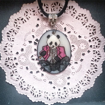handmade PANDA animal necklace SOPHISTICRITTER painted panda hipster animal oval pendant jewelry