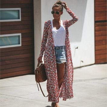New Casual Women Floral Printed Long Female Duster Kimono Open Cardigan Duster Maxi Tunic Boho Dress