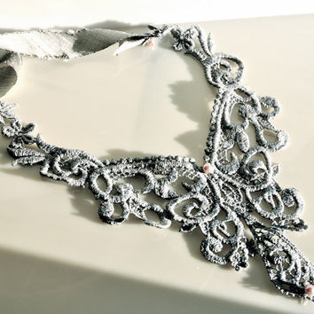 Necklace in grey lace Add a vintage look to by TutusChicBoutique