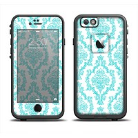 The Fancy Laced Turquiose & White Pattern Skin Set for the Apple iPhone 6 LifeProof Fre Case