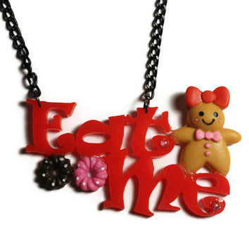 Alice & Wonderland inspired EAT ME necklace by DeathwishDesign
