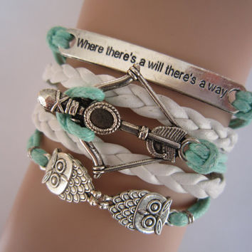 Combined Bracelet / Antiqued Silver Disney Brave Merida Bow , Night Owls Bracelet, Way Will Bracelet, Mint Green White, Friendship Gift