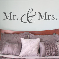 Mr and Mrs Wall Decal Mr. and Mrs. Mr & Mrs bedroom wall decal