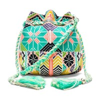 Star Mela Selma Embroidered Pouch in Ecru & Multi
