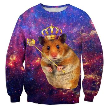 Creative 3D Printed Men Sweatshirt Funny Galaxy Space Mouse Graphic Man Pullover Fashion Crewneck Unisex Hoodies Clothing Tops
