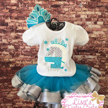 Frozen birthday outfit. Ribbon trimmed tutu. Number birthday shirt. Frozen birthday shirt. Princess birthday party. Blue and silver tutu.