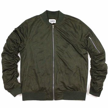 Nyle Suede Bomber Jacket (Olive Green)