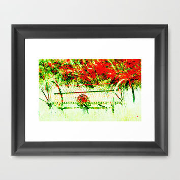 Tedder hit the Hay Framed Art Print by Gréta Thórsdóttir  #pension #harvest #grass #pasture #crop #red #yellow #green