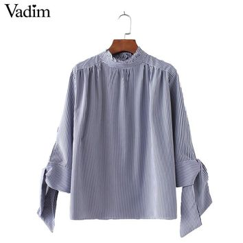 Women elegant striped shirts three quarter sleeve with tie stand collar loose blouses female casual brand tops blusas LT1544