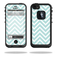 Mightyskins Protective Vinyl Skin Decal Cover for LifeProof iPhone 5 / 5S Case fre Case wrap sticker skins Aqua Chevron