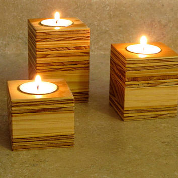 Wooden Candle Holder, Reclaimed Wood, Home Decor, Candle Holders