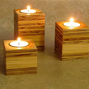 Wooden Candle Holder Reclaimed Wood Home Decor Candle Holders