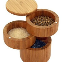 BACKKTCL Bamboo 3-Tiered Seasoning Spice Salt Storage Box With Removable Rotating Magnetic Lid Enhanced Edition