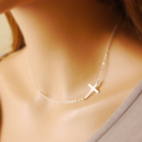Sterling Silver Cross Necklace, sideways cross necklace, religious necklace, initial necklace, personalized jewelry, silver cross, N14