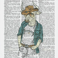 Dictionary Art Print Bull dressed up cowboy on Upcycle Vintage Page Book Print Art Print Dictionary Print Collage Print