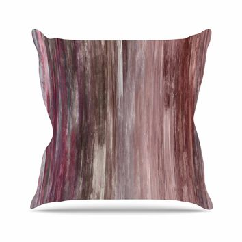 "Ebi Emporium ""Waterfall Blur, Blush Rust"" Pink Maroon Abstract Stripes Painting Mixed Media Throw Pillow"