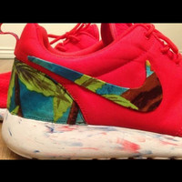 """Custom Red Marble """"Island Floral"""" Nike Roshe Run   Exclusive and Unique   Men's Running Sneakers/Shoes"""