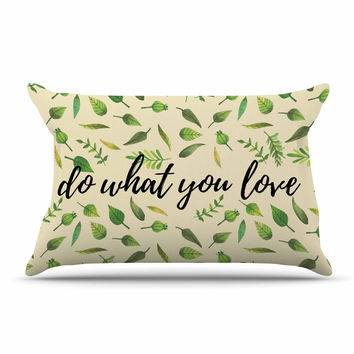 "KESS Original ""Do What You Love"" Green Beige Pillow Case"