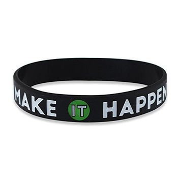 MAKE IT HAPPEN  Motivational Black Silicone Wristband