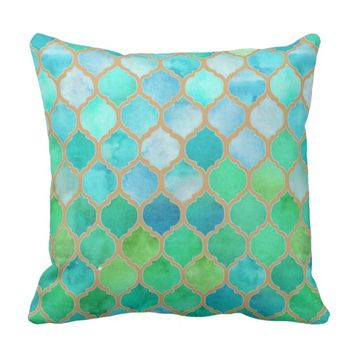 Moroccan Beach Aqua Hues Watercolor Print Pillow