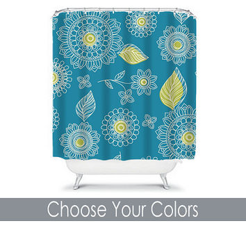 Shower Curtain CUSTOM You Choose Colors Teal Lime Green Mandala Flower Leaf Doodle Floral Bathroom Bath Polyester Made in the USA