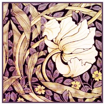 Purple Pimpernel William Morris Design Counted Cross Stitch or Counted Needlepoint Pattern